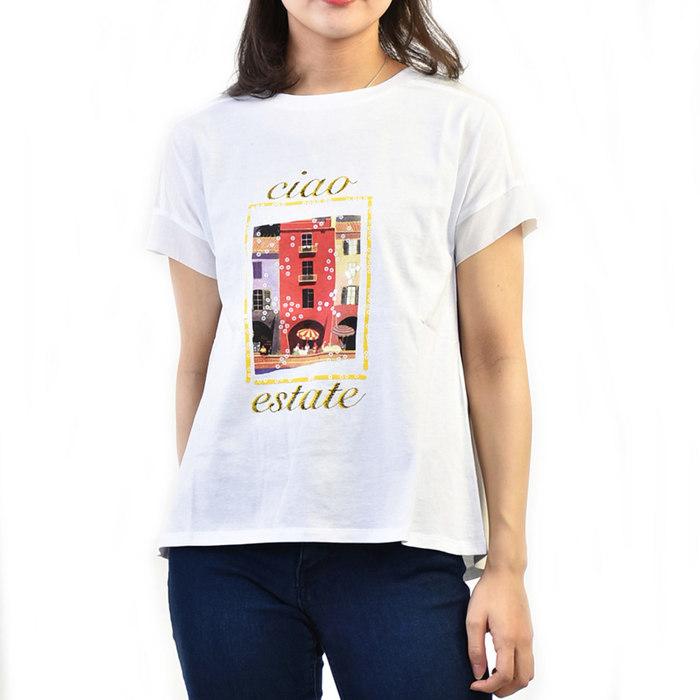 マレーラ スポーツ プリントTシャツ MARELLA SPORT SGUSCIO 39410195250 002 ホワイト