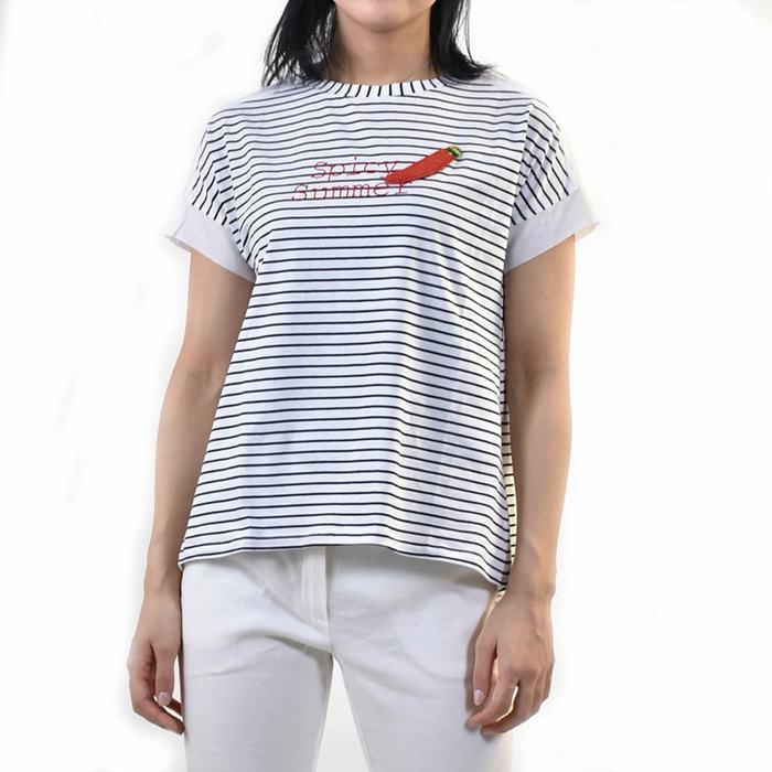 マレーラ スポーツ ボーダーTシャツ MARELLA SPORT SGUSCIO 39410195 001 ホワイト/ブラック