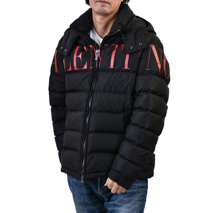 ヴァレンチノ フード付きダウンジャケット VALENTINO SV3CNA705AT 0NR ブラック メンズ ギフト プレゼント
