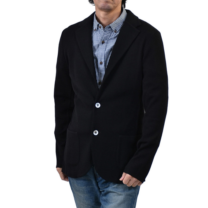 ラルディーニ ウール ニット テーラードジャケット LARDINI 53001 999 ブラック カジュアル メンズ