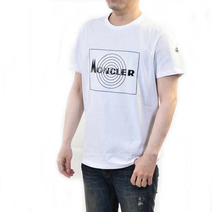 モンクレール 半袖 Tシャツ カットソー MONCLER 80485 50 8390T 4304979 001 ホワイト メンズ ラスト1点