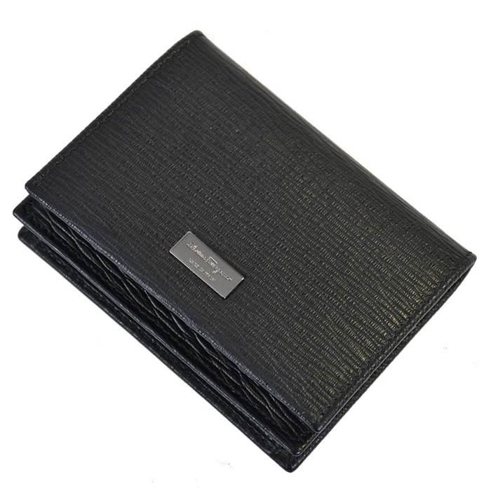 フェラガモ 名刺入れ カードケース FERRAGAMO 6670620351286 BUSINESS CARDHOLDER TARGHETTA 001NE ブラック ガンメタ メンズ