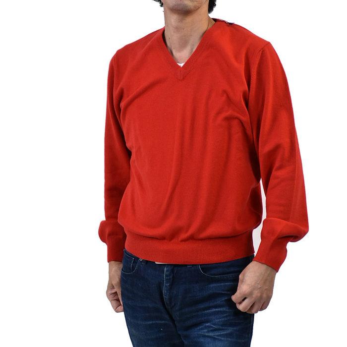 デニー カシミヤ Vネックセーター DENNY 301/CA レッド メンズ