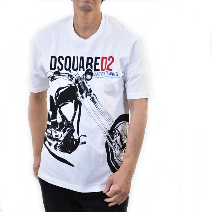 ディースクエアード 半袖 プリントTシャツ DSQUARED2 S74GD0680 S22507 100 100 ホワイト【FINAL SALE】