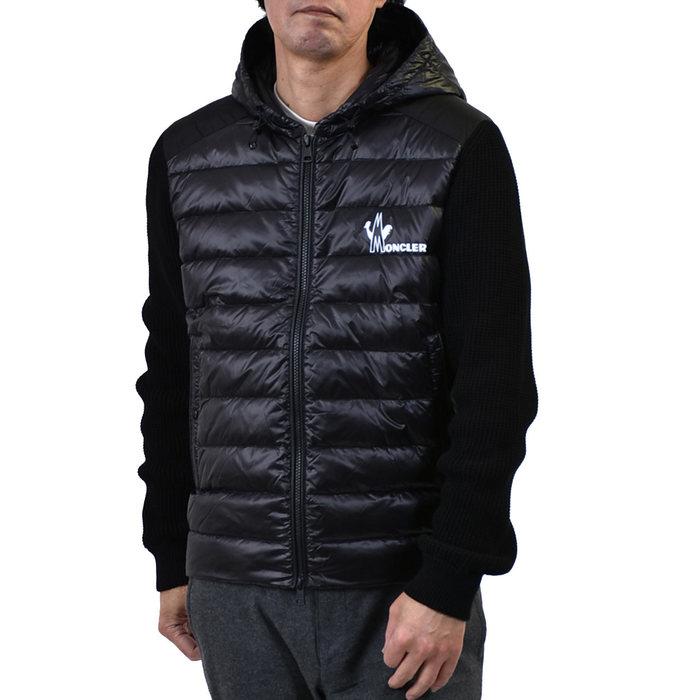 モンクレール ニット フーテッドジャケット MONCLER 9B501 10 V9099 999 ブラック メンズ ラスト1点