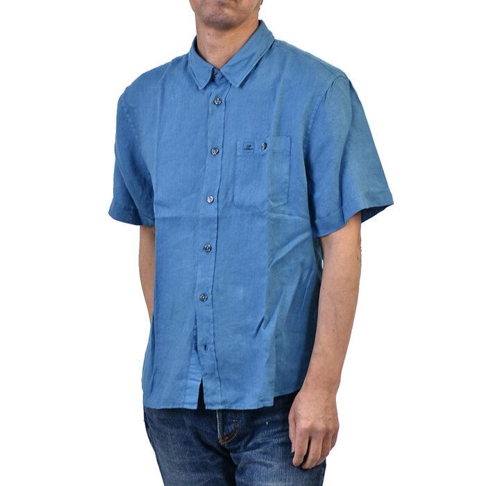 シーピーカンパニー メンズ 半袖 シャツ C.P. Company 06CMSH073A 864 麻 ブルー クールビズ ラスト1点