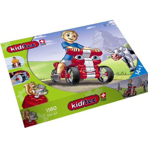Kiditec キディテック マルチカー レッド 79ピース~スイス生まれの組み立てブロック『Kiditec』。足けり四輪車が組み立てられるブロックセットです。1歳から6歳までお子様の成長にあわせて13種類のモノが組み立てられます。