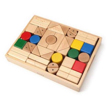 Play Me Toys プレイミートーイズ トランスフォーマーブルブロックス 40ピース~Play Me Toysの丸・三角・四角の積み木40ピースセットです。しっかり面取りがされていて、優しいさわり心地です。