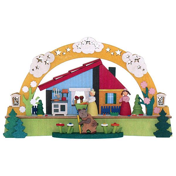 Graupner グラウプナー社 LEDライト付シュヴィップボーゲン 白雪とベニバラ~グラウプナー社製のグリム童話『白雪姫』がテーマのアーチ型キャンドルスタンド「シュヴィップボーゲン」です。5個のLEDライトが内蔵されていて、優しく暖かに灯ります。