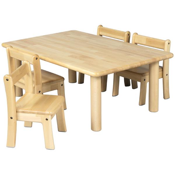 ブロック社 角テーブル 90×60 丸脚<H43>と幼児椅子<座高26>×4脚セット~幼稚園・保育園にオススメなブロック社の木製子供用家具。割安なってるテーブルと椅子のお得セットです。【4歳児用】