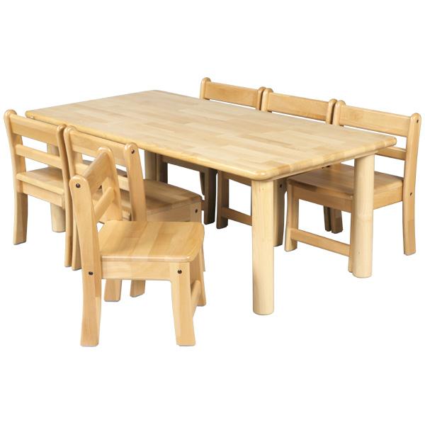 ブロック社 角テーブル 120×60 丸脚<H43>と幼児椅子<座高26>×6脚セット~幼稚園・保育園にオススメなブロック社の木製子供用家具。割安なってるテーブルと椅子のお得セットです。【4歳児用】