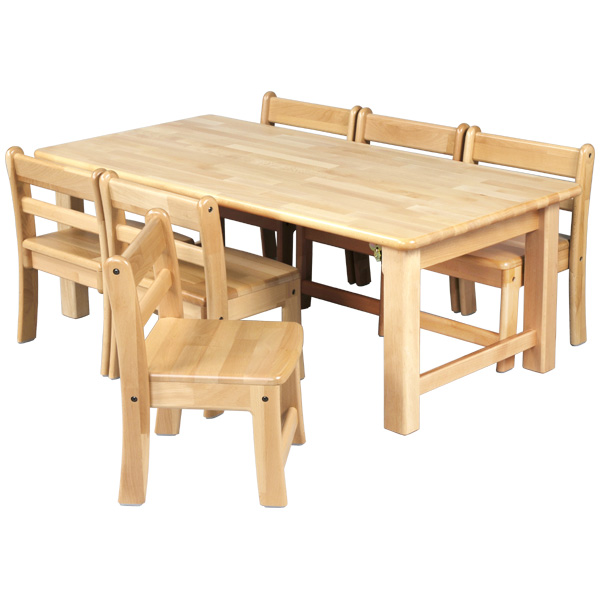 ブロック社 角テーブル 120×60 角脚折畳<H51>と幼児椅子<座高29>×6脚セット~幼稚園・保育園にオススメなブロック社の木製子供用家具。割安なってるテーブルと椅子のお得セットです。【5歳児用】