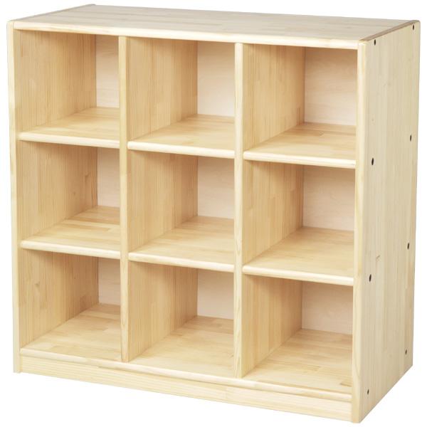 ブロック社 整理棚9人用~幼稚園・保育園にオススメなブロック社の木製子供用収納家具。収納に便利な白木棚です。