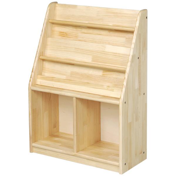 ブロック社 絵本立て<収納付>小~幼稚園・保育園にオススメなブロック社の木製子供用家具。表紙を見せて絵本を収納できる木製本立てです。