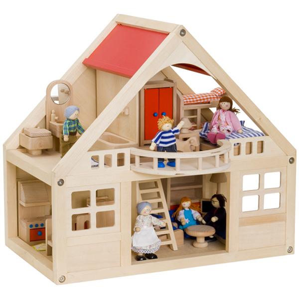 BorneLund ボーネルンド マイドールハウスセット~お人形、家具が全てセットになったボーネルンドの木製ドールハウスセット。ドールハウス遊びの幅が広がります。【簡易ラッピング】