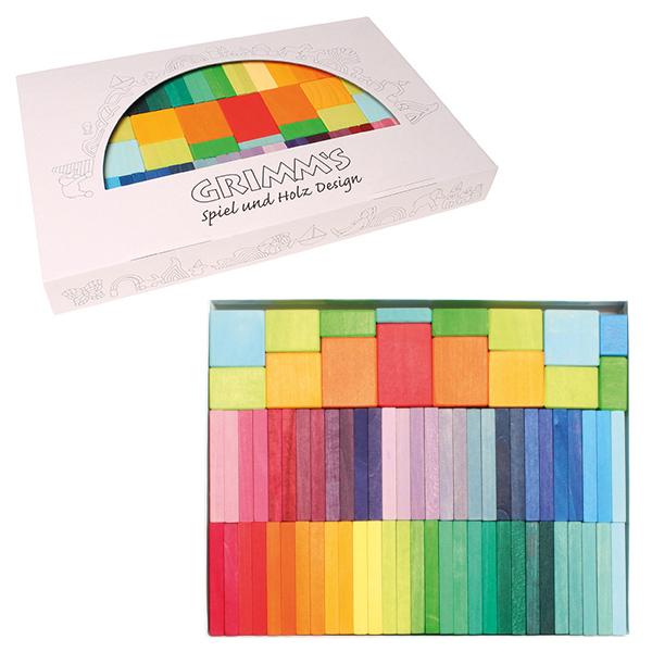 Grimm's Spiel & Holz Design グリムス社 にじドミノ カラーチャートブロック 58P~ドイツ、グリムス社の29色のグラデーションで構成された色鮮やかなレインボーカラーのドミノ積み木です。遊びながら色彩感覚が育まれます。