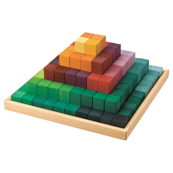 Grimm's Spiel & Holz Design グリムス社 にじのステップブロック 100P~ドイツ、グリムス社の色彩と基尺が整ったブロック積み木。規則な5種類の長さでセットになっています。