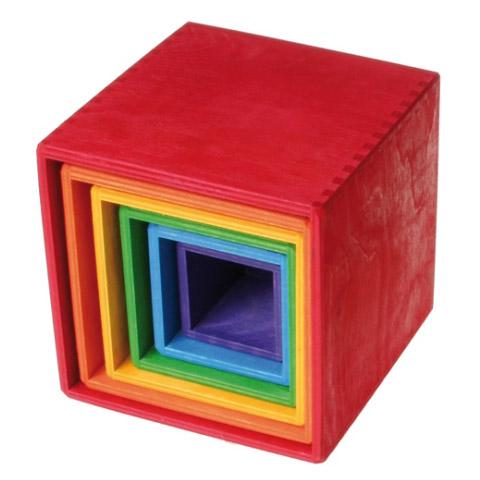 Design グリムス社 スタッキングボックス Spiel 大~ドイツ・グリムス社の積み重ねた大きさが65cmにもなる特大サイズの入れ子遊びの木のおもちゃです。 Holz Grimm's &