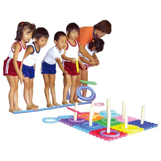 一歩社 はじめしゃ どこでもわなげ~一歩社(はじめしゃ)のイベントやレクリエーションで利用できるおもちゃ・遊具。ソフトで安全性の高いEVAスポンジ製の輪投げです。