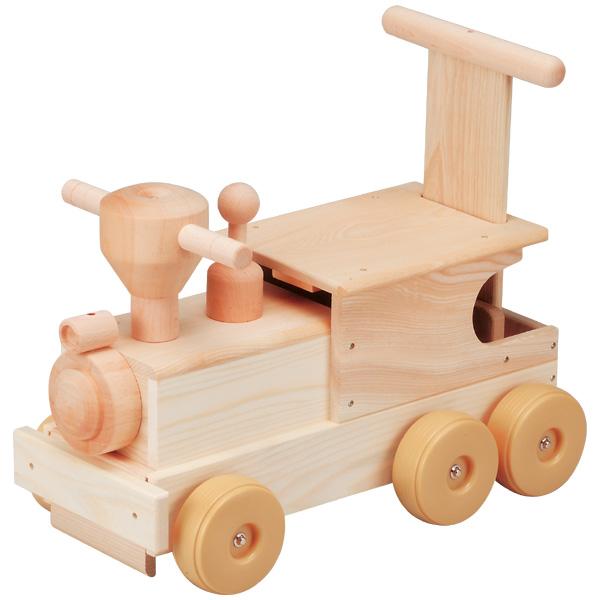 平和工業 Mocco モッコ 森の機関車~日本製の木のおもちゃMocco(モッコ)シリーズ。手押し車としても使えるビッグサイズの汽車の木製足けり乗用玩具です。