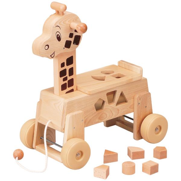 平和工業 Mocco モッコ 乗用キリン~日本製の木のおもちゃMocco(モッコ)シリーズ。形合わせと引き車(プルトイ)も楽しめるキリンの木製足けり乗用玩具です。