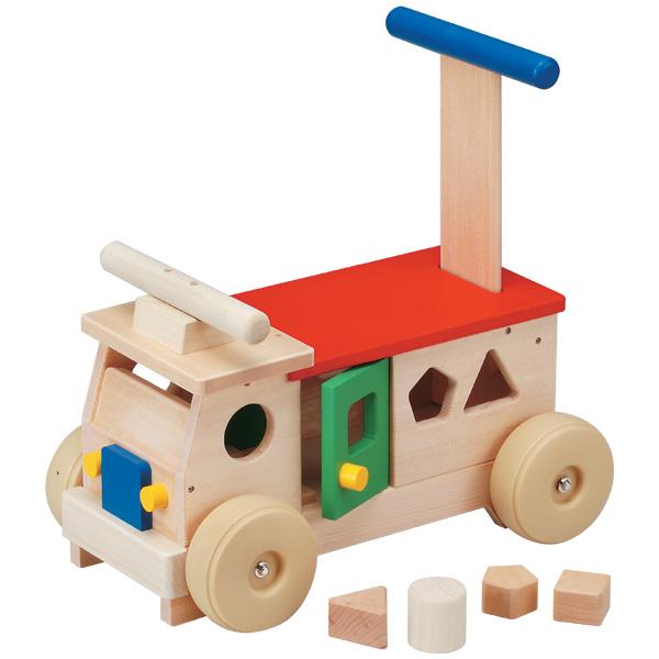 平和工業 Mocco モッコ カラフルバス~日本製の木のおもちゃMocco(モッコ)シリーズ。手押し車としても使えるバスの木製足けり乗用玩具です。