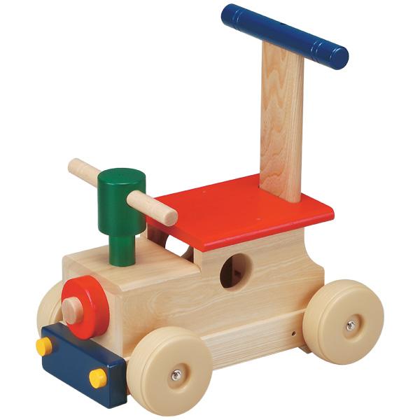 平和工業 Mocco モッコ カラフルロコ~日本製の木のおもちゃMocco(モッコ)シリーズ。手押し車としても使える汽車の木製足けり乗用玩具です。