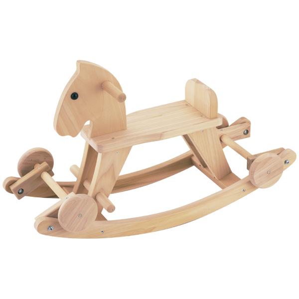 平和工業 Mocco モッコ 森の車付木馬~日本製の木のおもちゃMocco(モッコ)シリーズ。タイヤを下ろすと足けり乗用玩具にもなる木馬です。