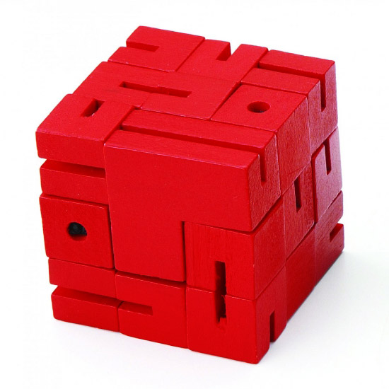 MT1162 平和工業 mi TOY フレキシ キューブ ブロックを動かして TOYのいろんな形を作って遊べる木製キューブパズルです 赤 送料込 人気の定番 ~mi いろいろな立体を作ります