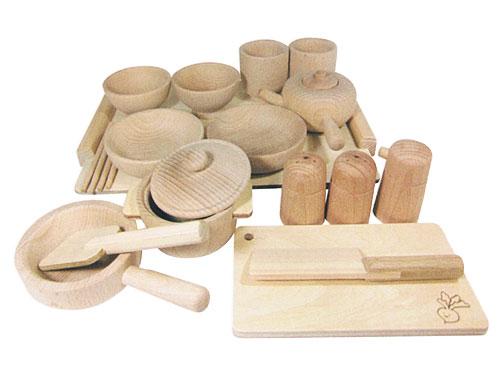 おままごと 木遊舎 たっぷりままごとセット~木遊舎の食器・料理道具が全てそろった木製おままごとセットです。