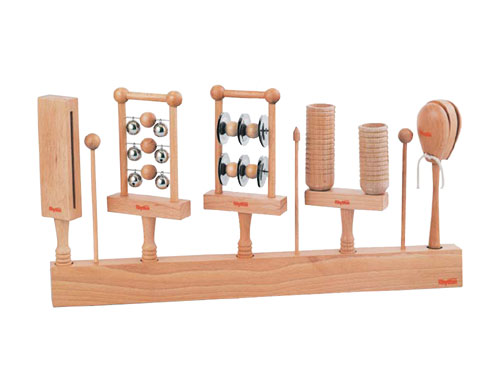 Rhythm poco リズムポコ パーカッションスタンドセット RP-950/PS~Rhythm pocoの自然素材で作られた5種類の異なる木製ハンド楽器と専用スタンドバーのセットです。