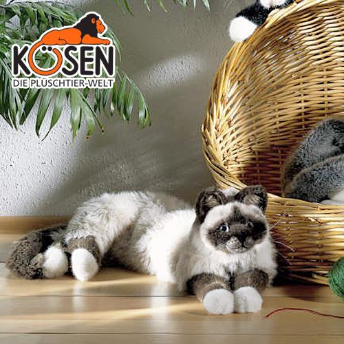 KOESEN ヒマラヤン プレゼント ねそべり猫 ケーセン社 4390~ドイツ・KOESEN/KOSEN(ケーセン社)の動物のぬいぐるみ。愛らしい表情の猫(ねこ/ネコ)のぬいぐるみです。出産祝い 出産したママへのご褒美にもおすすめ 結婚記念日 クリスマス
