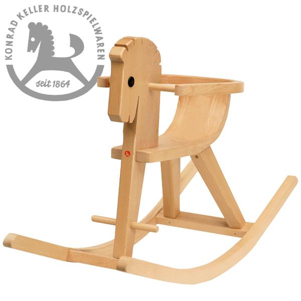 Konrad Keller ケラー社 枠付木馬のペーター 白木~ペーターの愛称を持つドイツのおもちゃメーカーKonrad Keller(ケラー社)の人気の木馬(ロッキングホース)です。枠は取り外しができます。