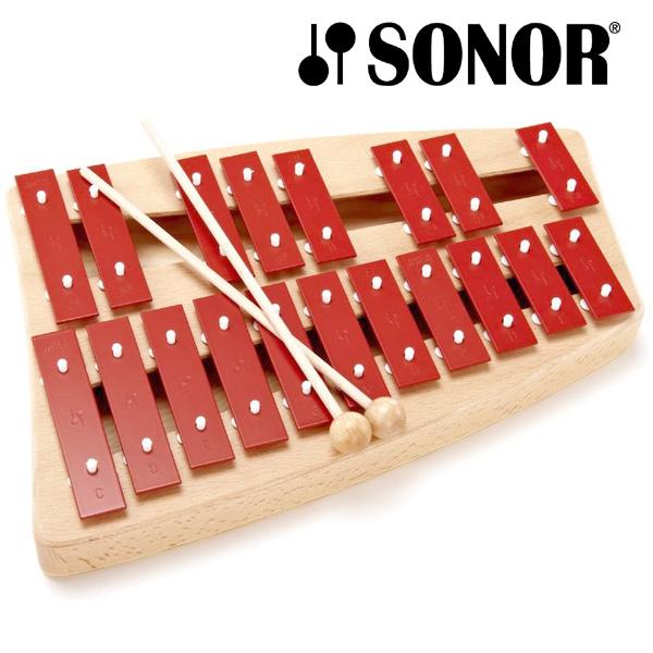 SONOR ゾノア社 二段メタルフォン NG30~ドイツ有数の打楽器メーカーSONOR(ゾノア社)の幼児楽器「オルフシリーズ」。赤い鍵盤が印象的な鉄琴「メタルフォン NGシリーズ」です。