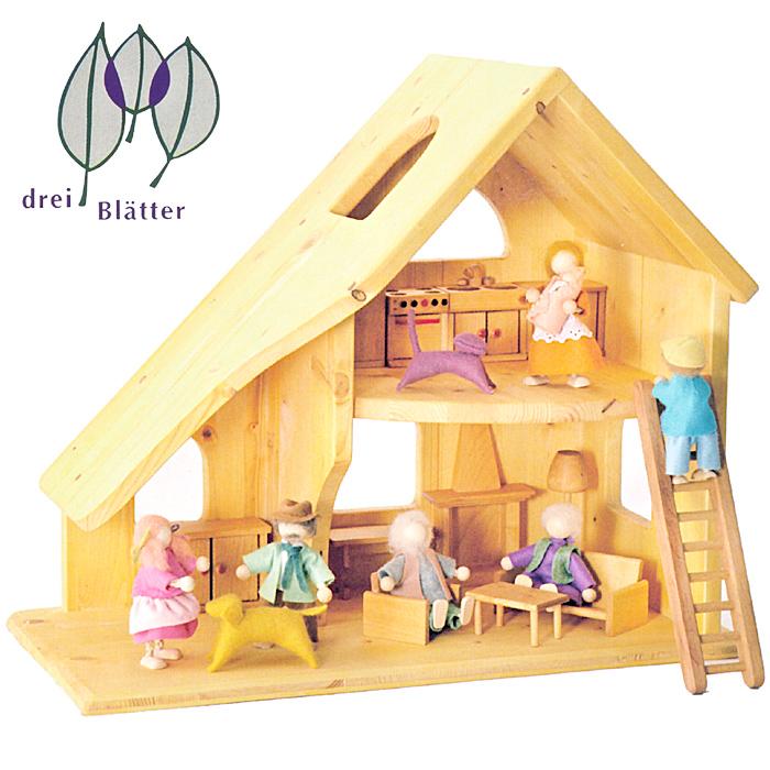 Drei Blatter ドライブラッター社 ドールハウス 人形の家 2階建 (小) 完成品~ドイツの木製玩具メーカー、Drei Blatter(ドライブラッター社)の2階建てのナチュラルな木製ドールハウスです。
