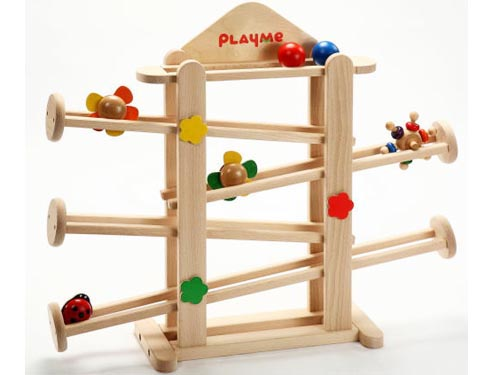 Play Me Toys プレイミートーイズ フラワーガーデン~てんとう虫・お花・こま・ボールが転がる!大人も夢中に遊べる、大きなサイズの木製スロープトイです。