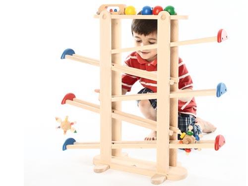 Play Me Toys プレイミートーイズ プレジャーガーデン~ピエロ・こま・車・ボールが転がる!大人も夢中に遊べる、大きなサイズの木製スロープトイです。