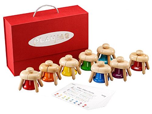 Play Me Toys プレイミートーイズ パットベル~平らな所に置いて、上のボタンを押すと綺麗な音がするドレミファソラシドの8音が揃ったカラフルなベルです。