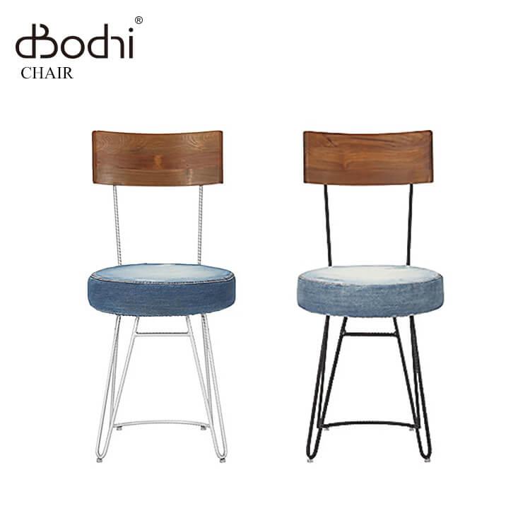 カンパーニャ チェア/119212 119205(食卓椅子 ダイニングチェア デニム 布 古材 アンティーク アイアン 鉄 木製 木目 ナチュラル) ポイント5倍