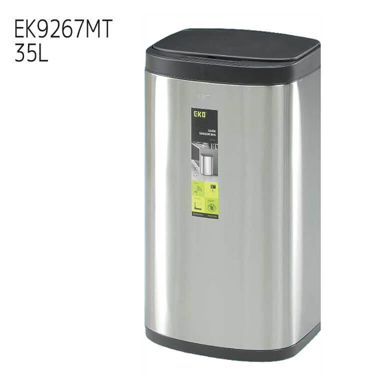 ワンダフルポイント5倍 【送料無料】ゴミ箱 ダストボックス EKO ドラ センサービン 前開き EK9267MT 35L シルバー DARA SENSOR オート