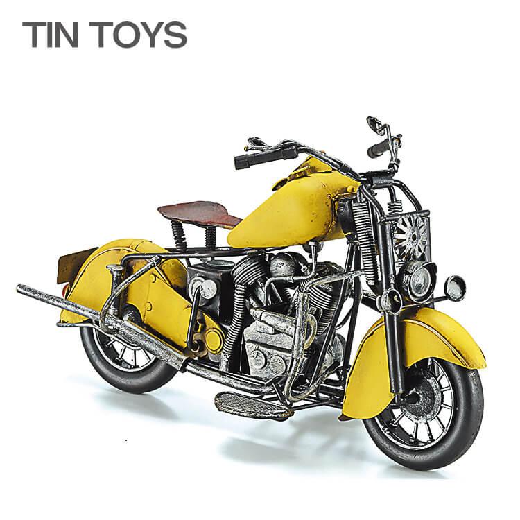 10日ポイント8倍 在庫少 要確認 ブリキのおもちゃ オートバイ 自動二輪車 motorcycle yellow 置物 インスタ映え オブジェ インテリア小物 レトロ アンティーク バイク