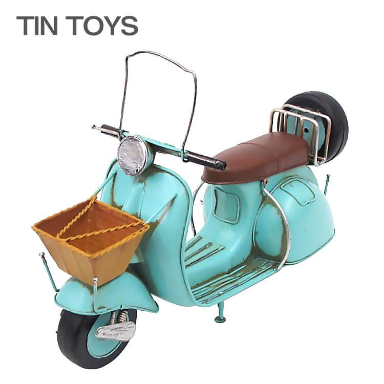 店内商品ポイント8倍 ブリキのおもちゃ バイク bike スクーター scooter 置物 オブジェ インテリア小物 レトロ アンティーク インスタ映え 43058 【送料無料】