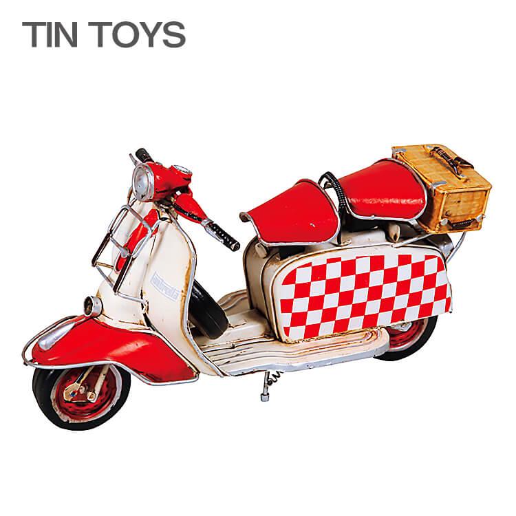 店内商品ポイント8倍 在庫少要確認 ブリキのおもちゃ バイク bike スクーター scooter 置物 オブジェ インテリア小物 レトロ アンティーク インスタ映え 27501 【送料無料】