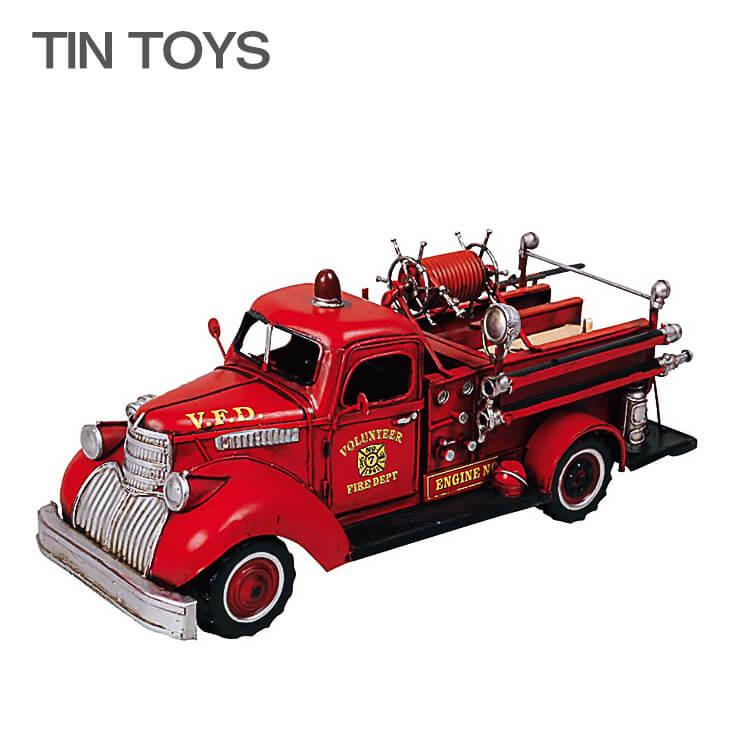 ブリキのおもちゃ(fireengine)(消防車 ディスプレイ 玩具 置物 インスタ映え オブジェ インテリア小物 レトロ アンティーク 車) 日曜ポイント8倍
