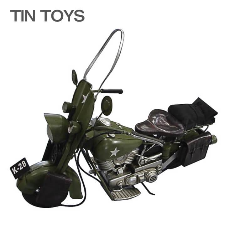 10日ポイント8倍 在庫少 要確認 ブリキのおもちゃ 大きいサイズ【65cm幅】軍用バイク オートバイ 玩具 置物 インスタ映え ディスプレイ用 オブジェ インテリア小物 レトロ アンティーク