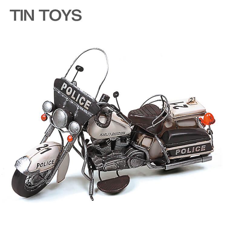 10日ポイント8倍 在庫少 要確認 ブリキのおもちゃ 警察車両 motorcycle police 白バイ オートバイ 置物 インスタ映え オブジェ