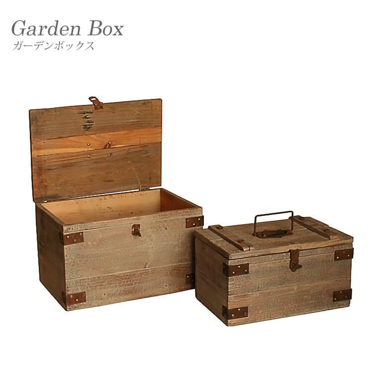 店内商品ポイント18倍 ガーデンボックス 木製 BOX 2個セット ガーデニング ガーデン 庭 シャビー ダメージ加工 【送料無料】