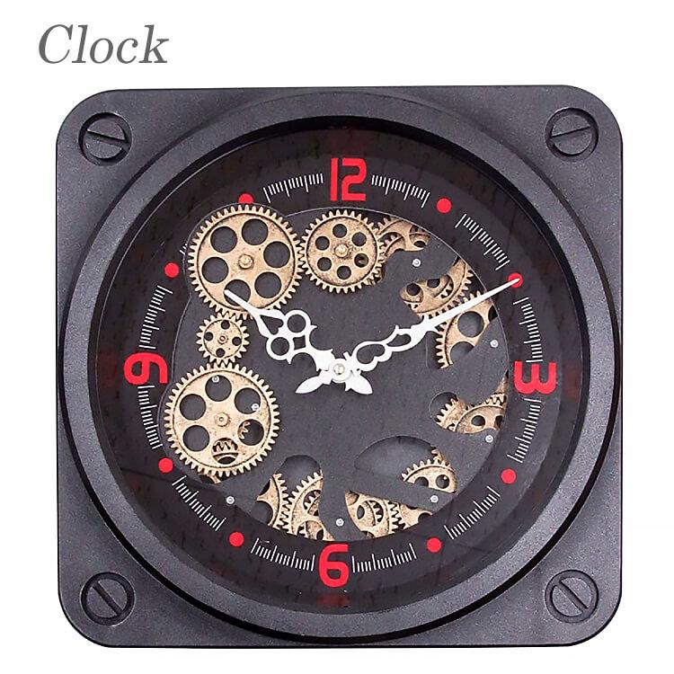 店内商品ポイント8倍 時計 壁時計 clock 歯車 gearclock クラシック インダストリアル アンティーク 50305 【送料無料】
