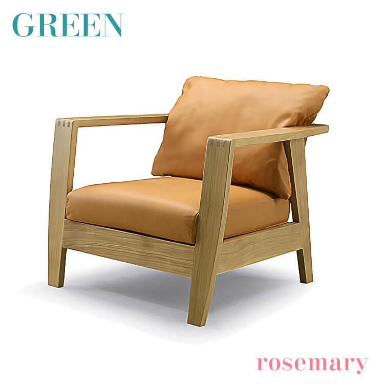 25日ポイント8倍 【送料無料】GREEN rosemary アームソファ B オーク R-018 本革 PVC リビング 1P 一人掛け セラウッド塗装 グリーン ローズマリー
