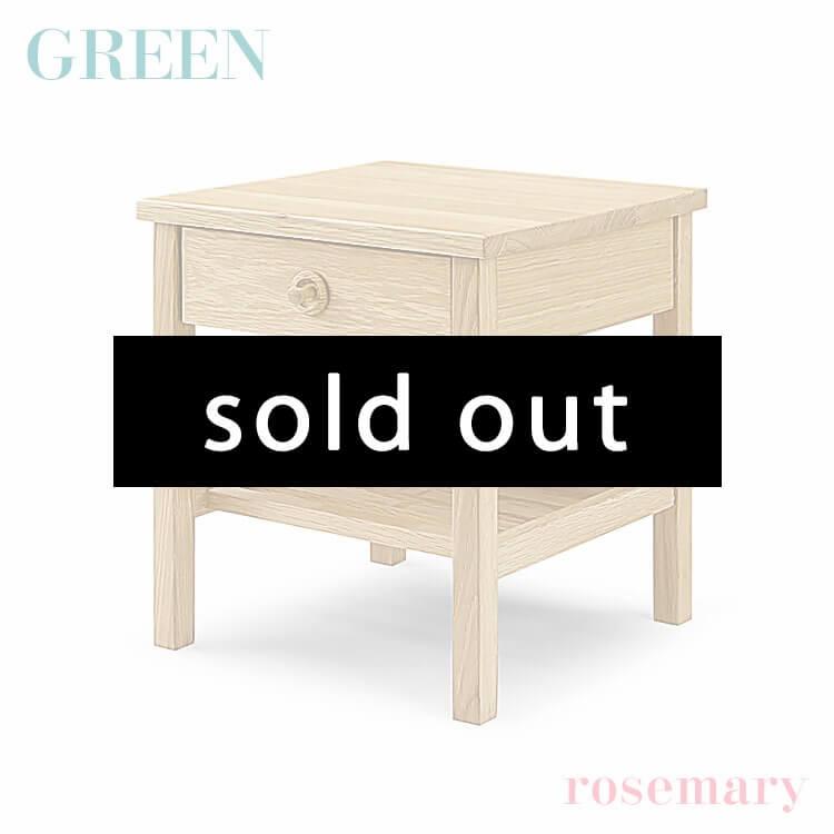 在庫少 【送料無料】GREEN rosemary ナイトテーブル A オーク R-046(ベッド 寝室 サイドテーブル 花台 セラウッド塗装 グリーン ローズマリー) ポイント5倍